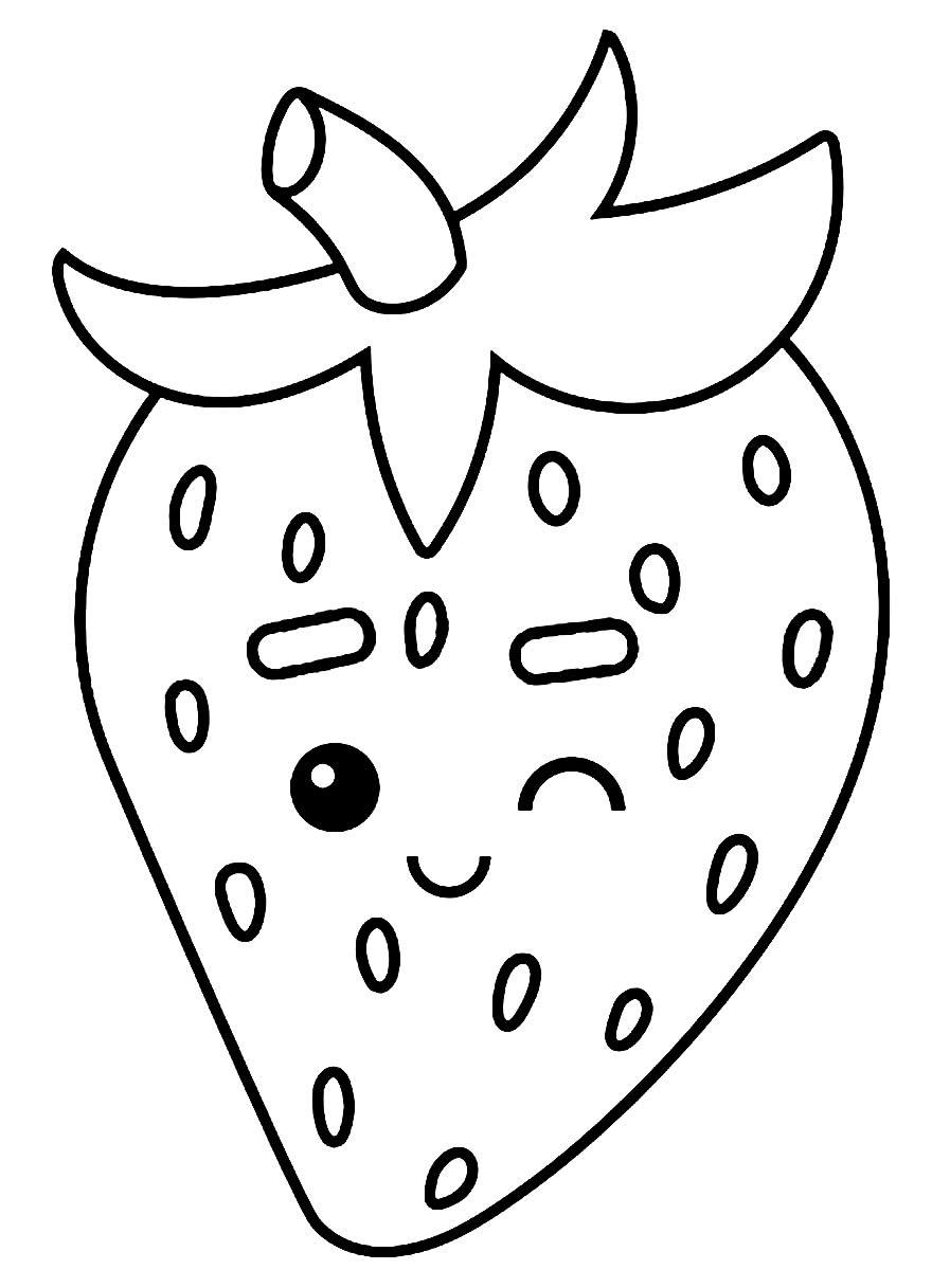 Imagem de morango para pintar