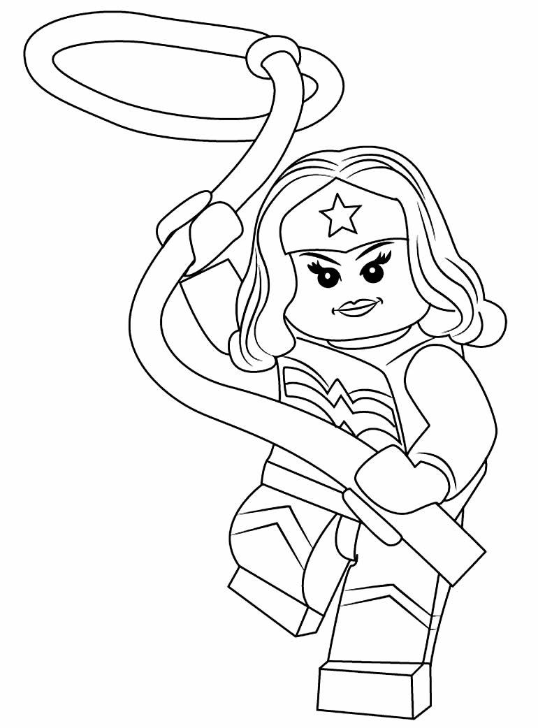 Desenho da Mulher Maravilha Lego para pintar
