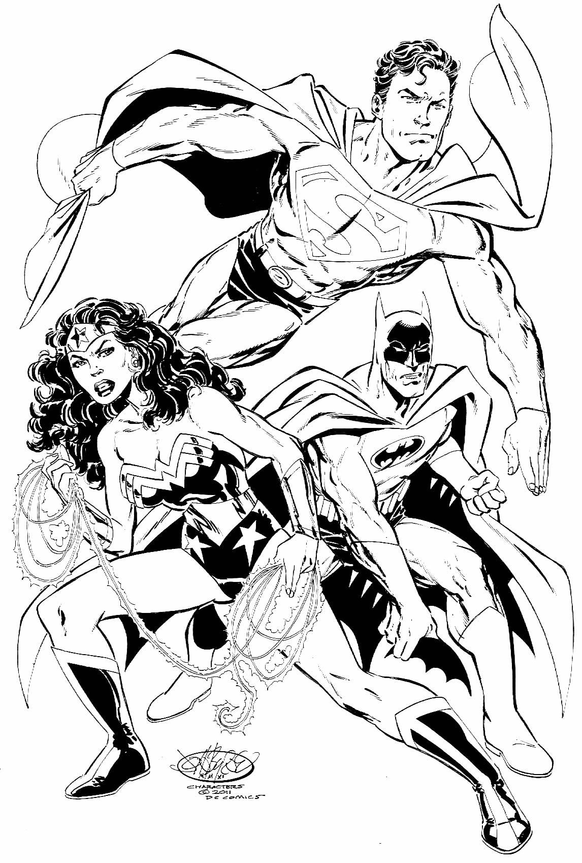 Desenho da Mulher Maravilha e do Super Homem para colorir