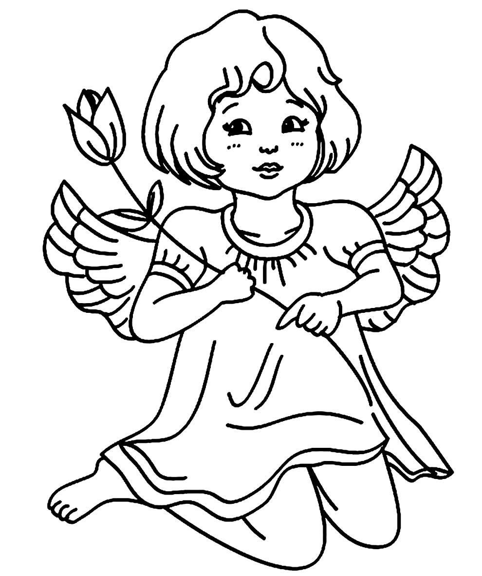 Desenho de Anjinha para colorir e pintar
