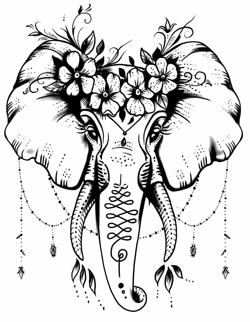 Imagem de Elefante para pintar e colorir