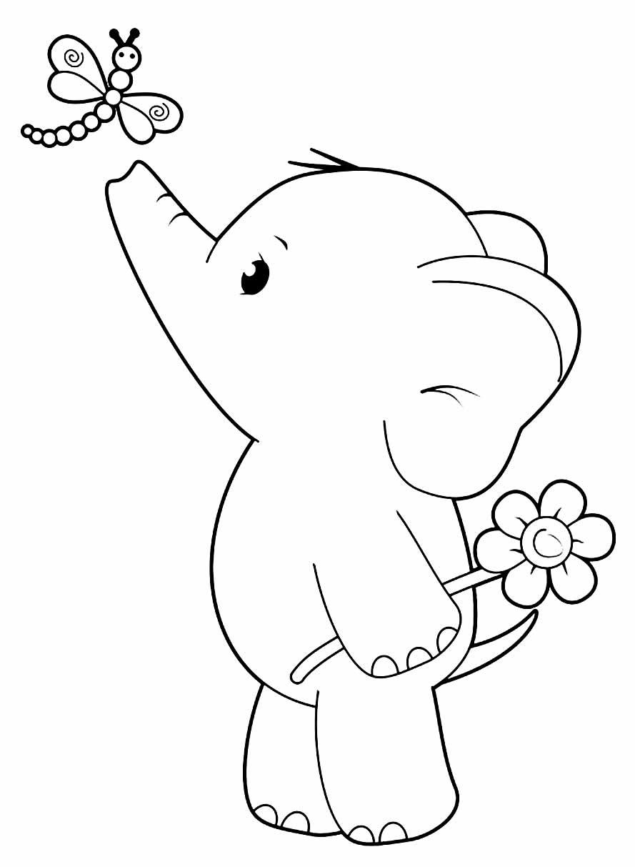 Imagem de Elefante fofo para pintar e colorir