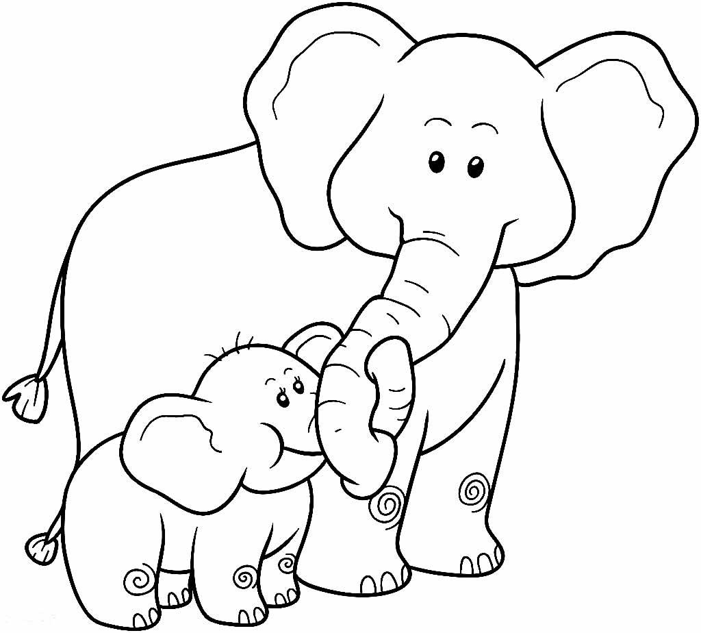 Imagem de Elefantes para pintar e colorir