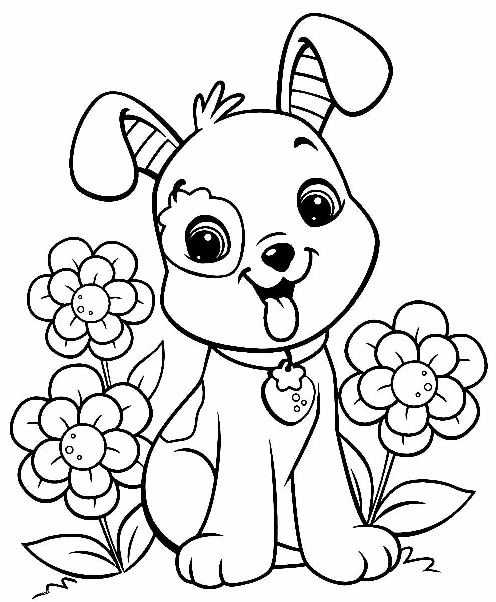 Cachorrinho e flores para imprimir