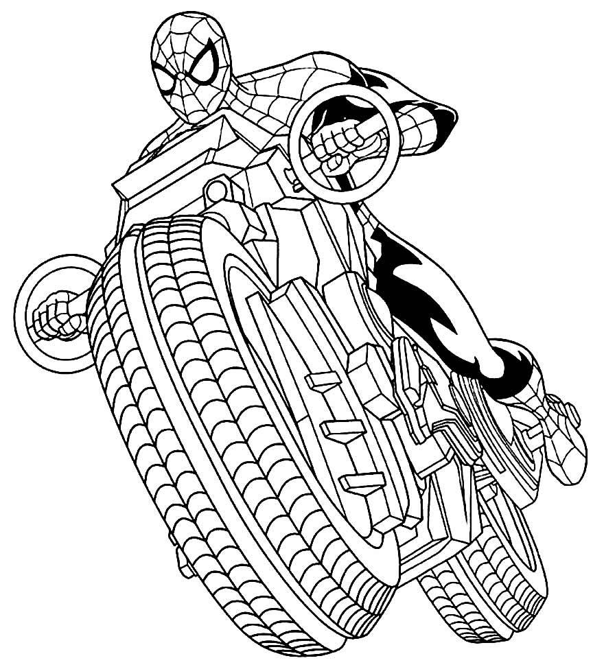 Homem Aranha na moto para colorir
