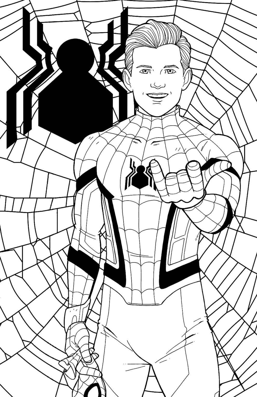 Desenho de Homem-Aranha para pintar e colorir