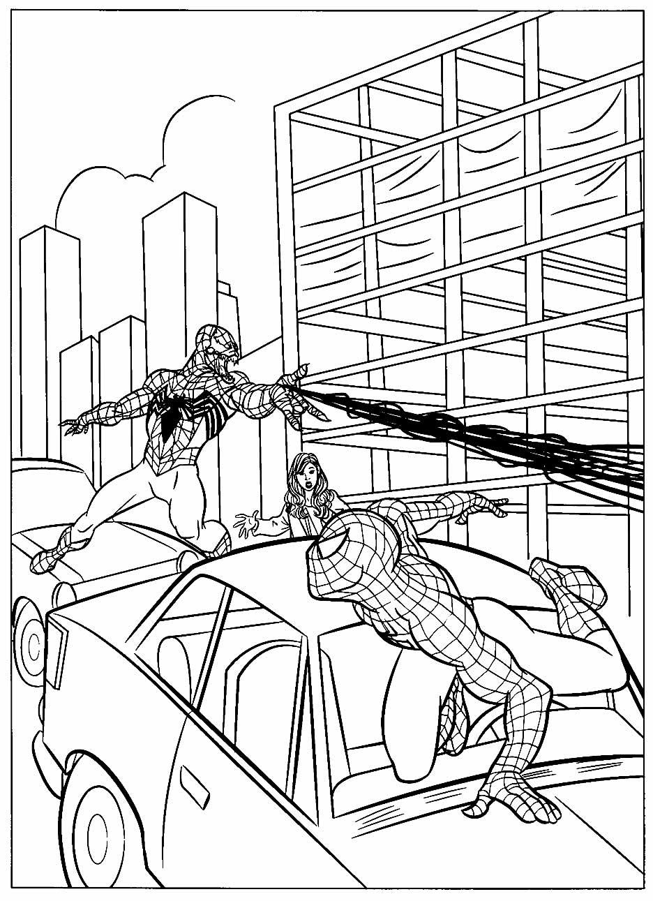Desenho do Homem-Aranha lutando