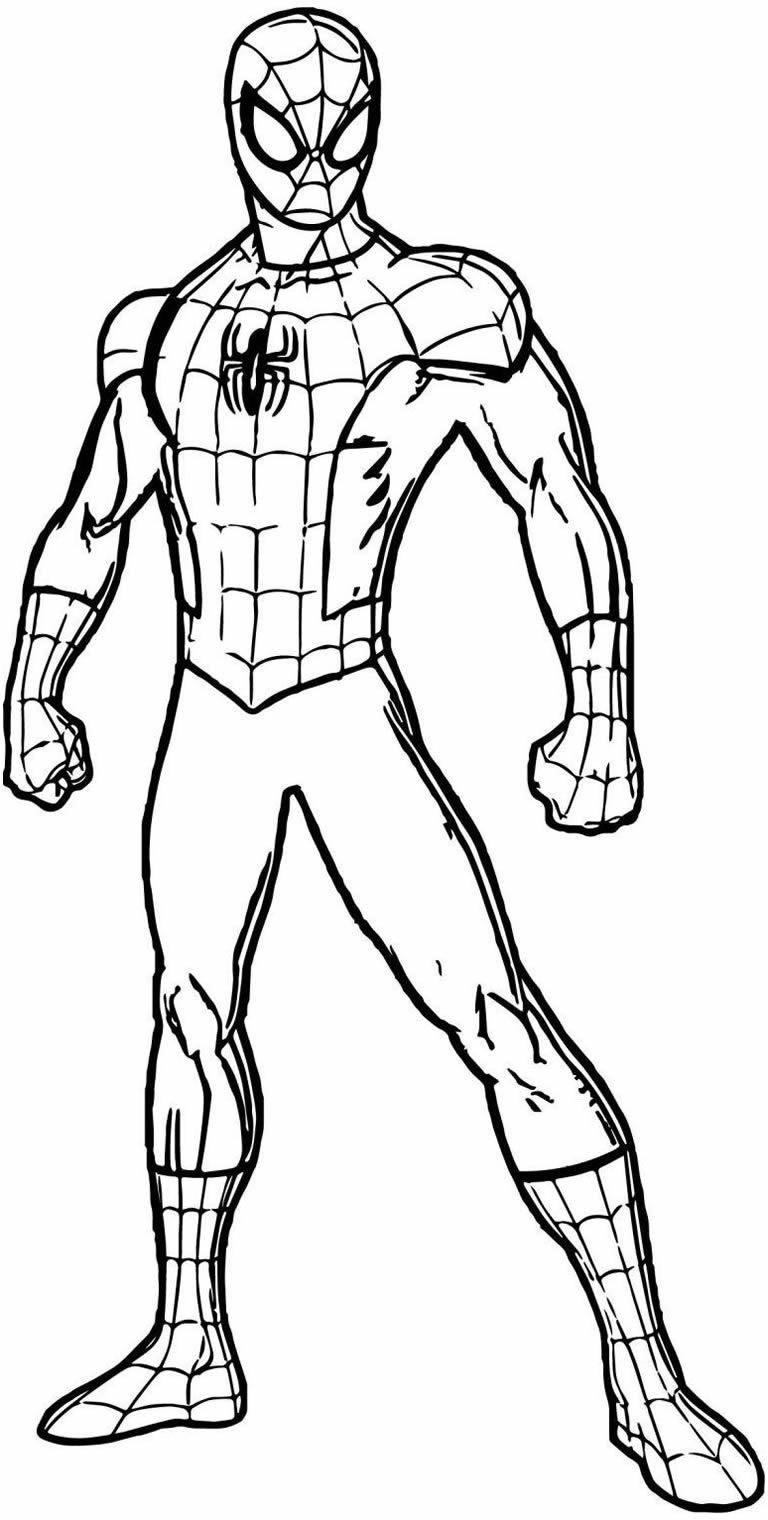Lindo desenho de Homem-Aranha para pintar e colorir