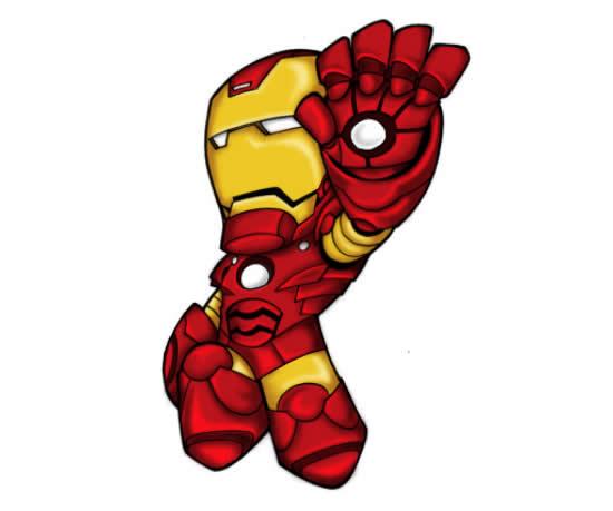 Desenho Colorido de Homem de Ferro