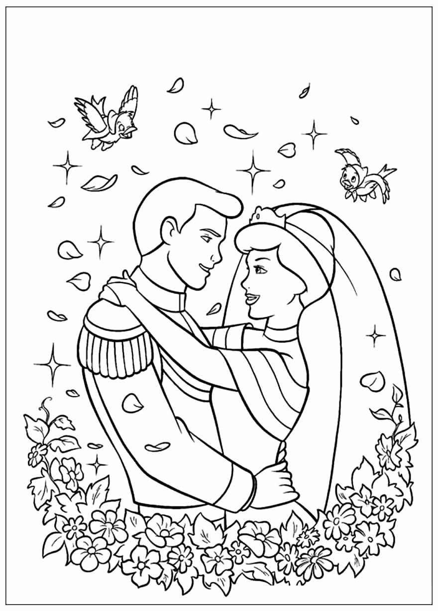 Lindo desenho da Cinderela para colorir