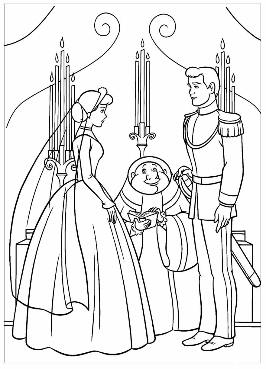 Lindo desenho da Cinderela e o Príncipe para colorir