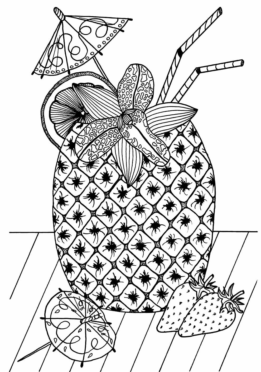 Desenho de abacaxi para imprimir e colorir