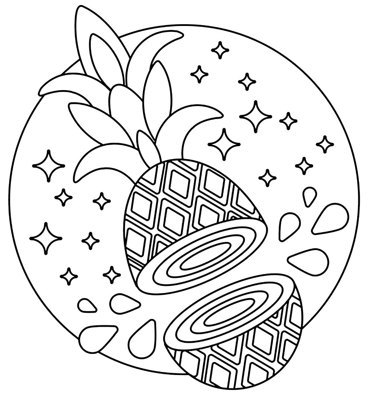 Desenho lindo de Abacaxi para colorir