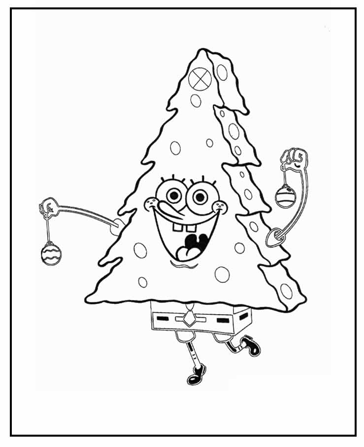 Desenho de Árvore de Natal para colorir - Bob Esponja