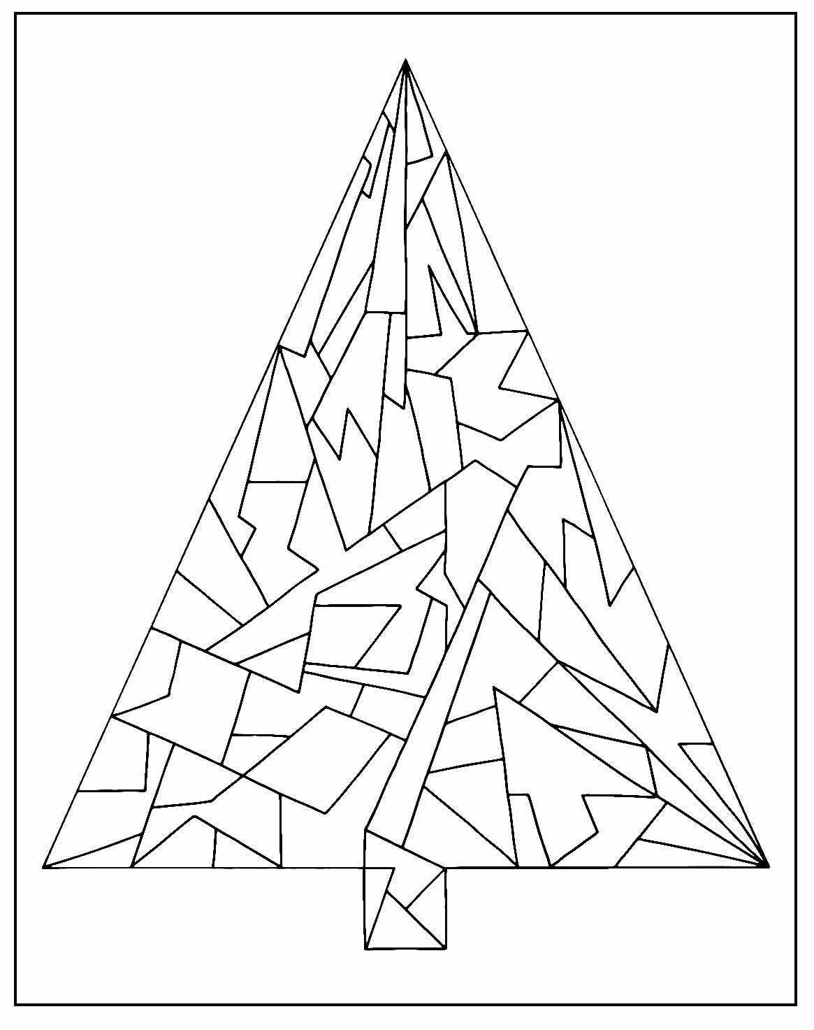 Desenho de Árvore de Natal para pintar - Geométrica - Poligonal