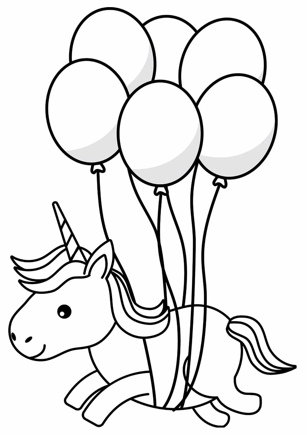 Desenho de unicórnio e balões