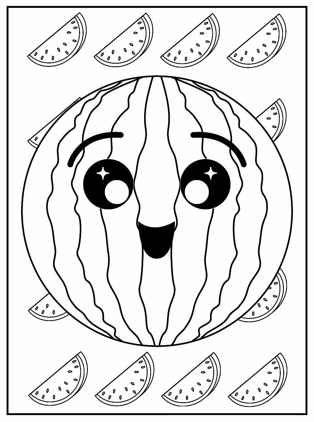 Lindo desenho de Melancia para colorir