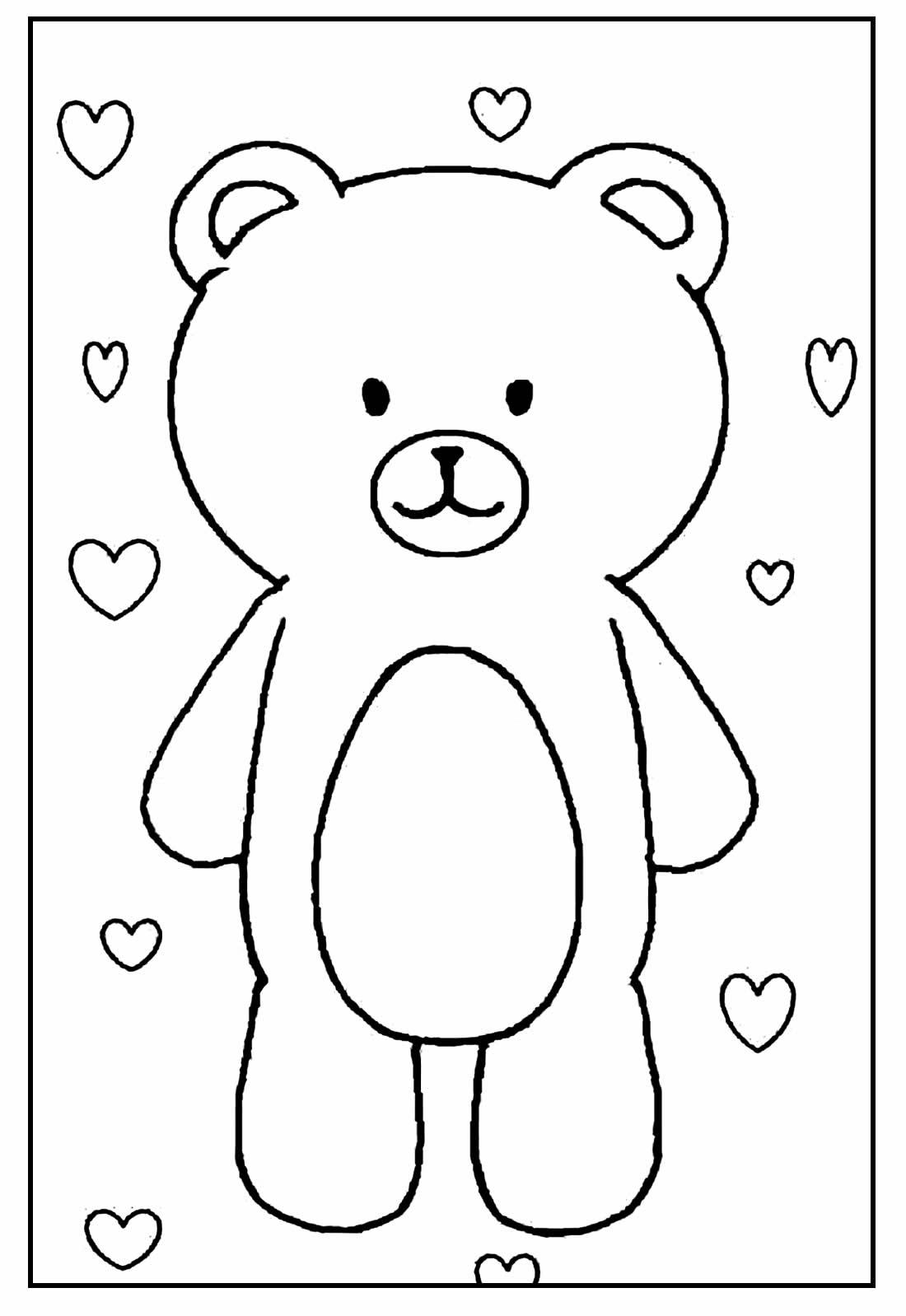 Desenho fofo de Urso para colorir