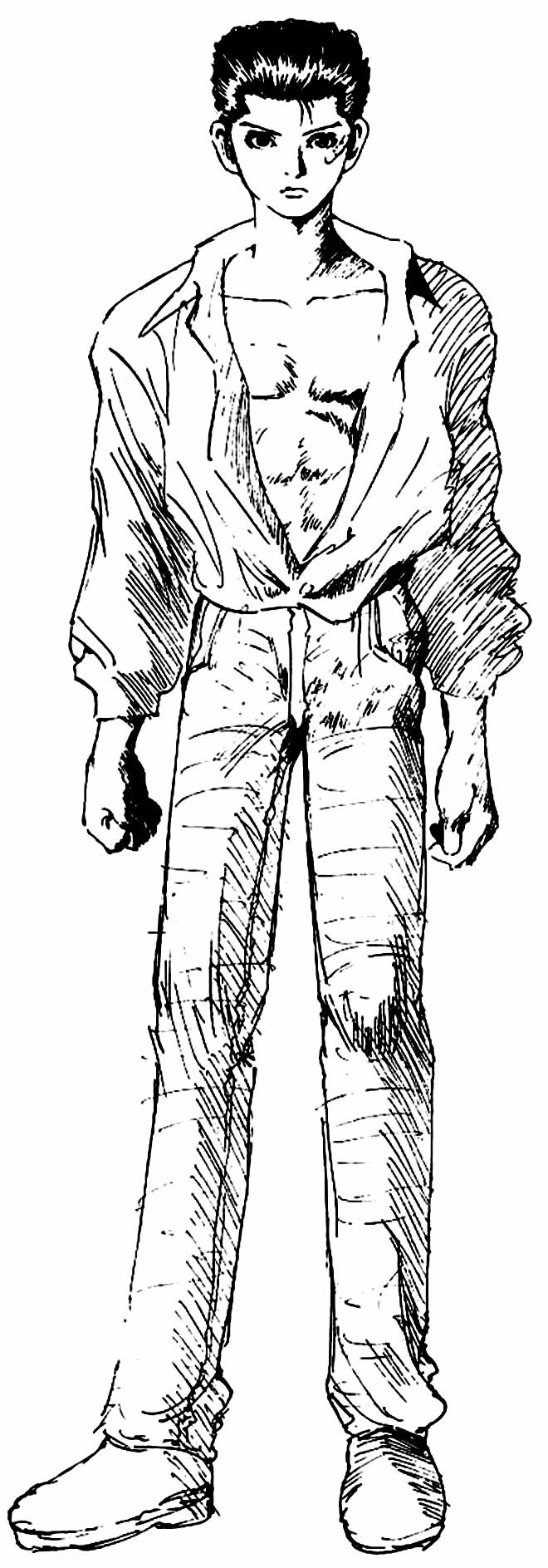 Desenho de Yu Yu Hakusho para pintar