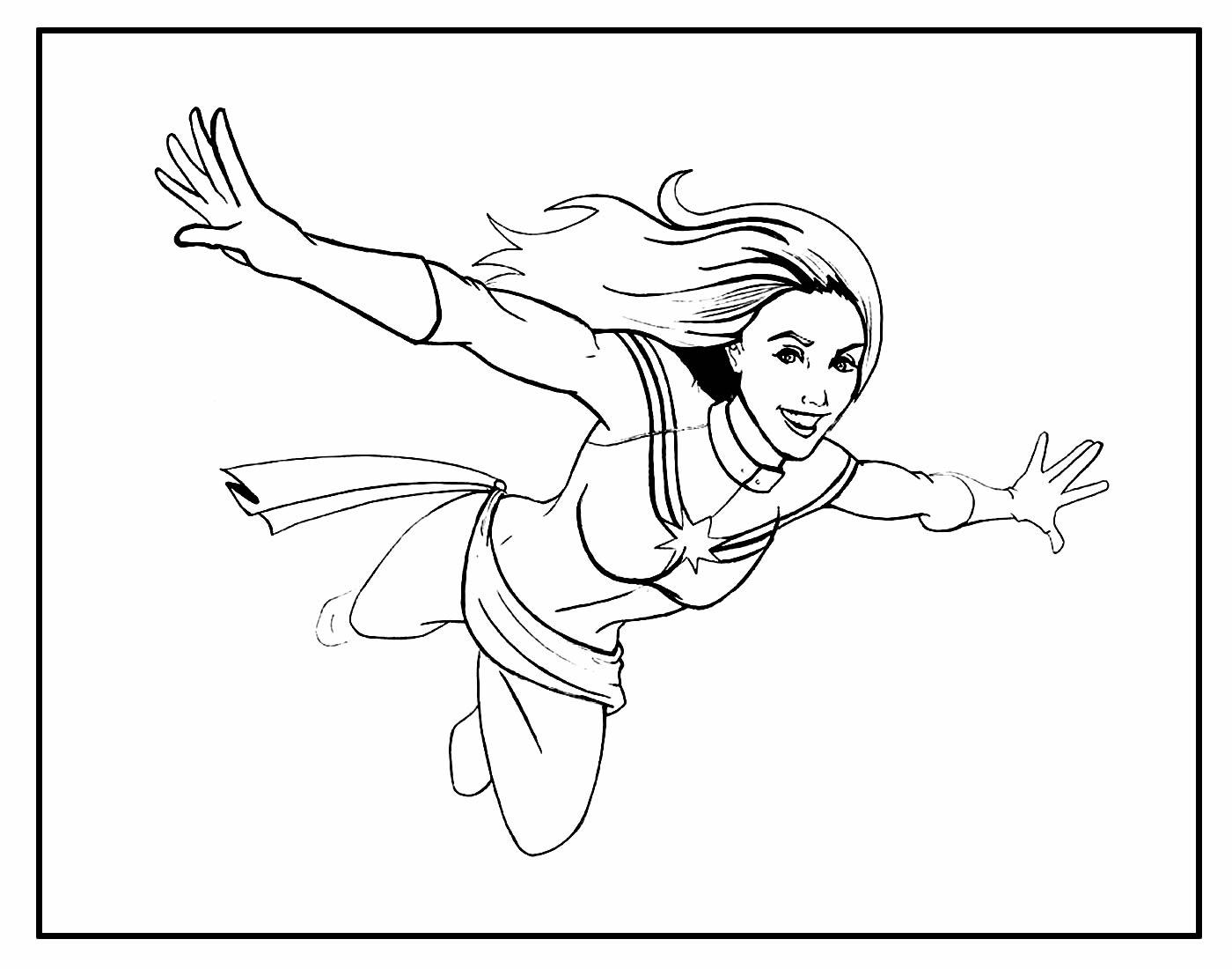 Página para colorir da Capitã Marvel
