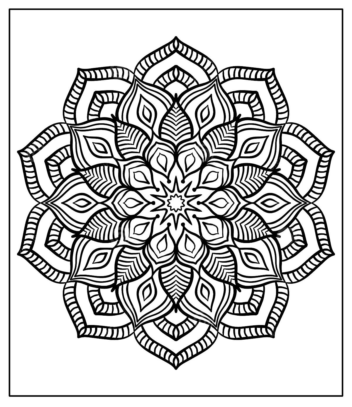 Página de colorir de Mandala