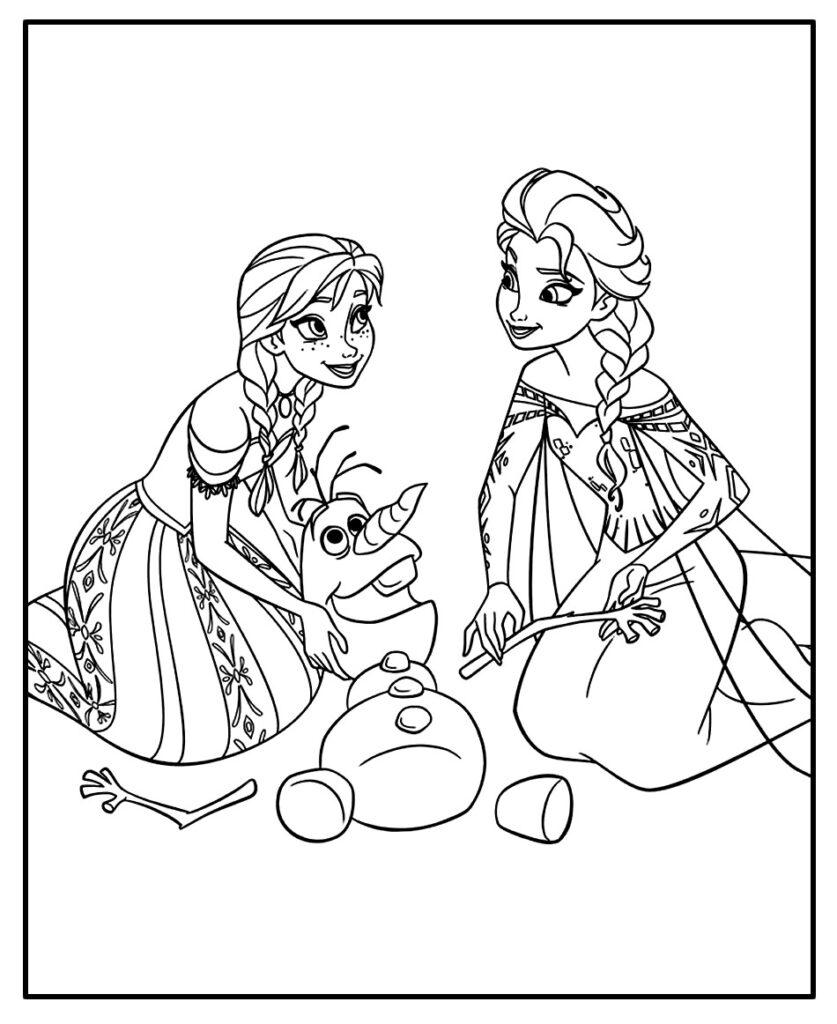 Desenho para colorir e pintar - Frozen - Olaf - Anna