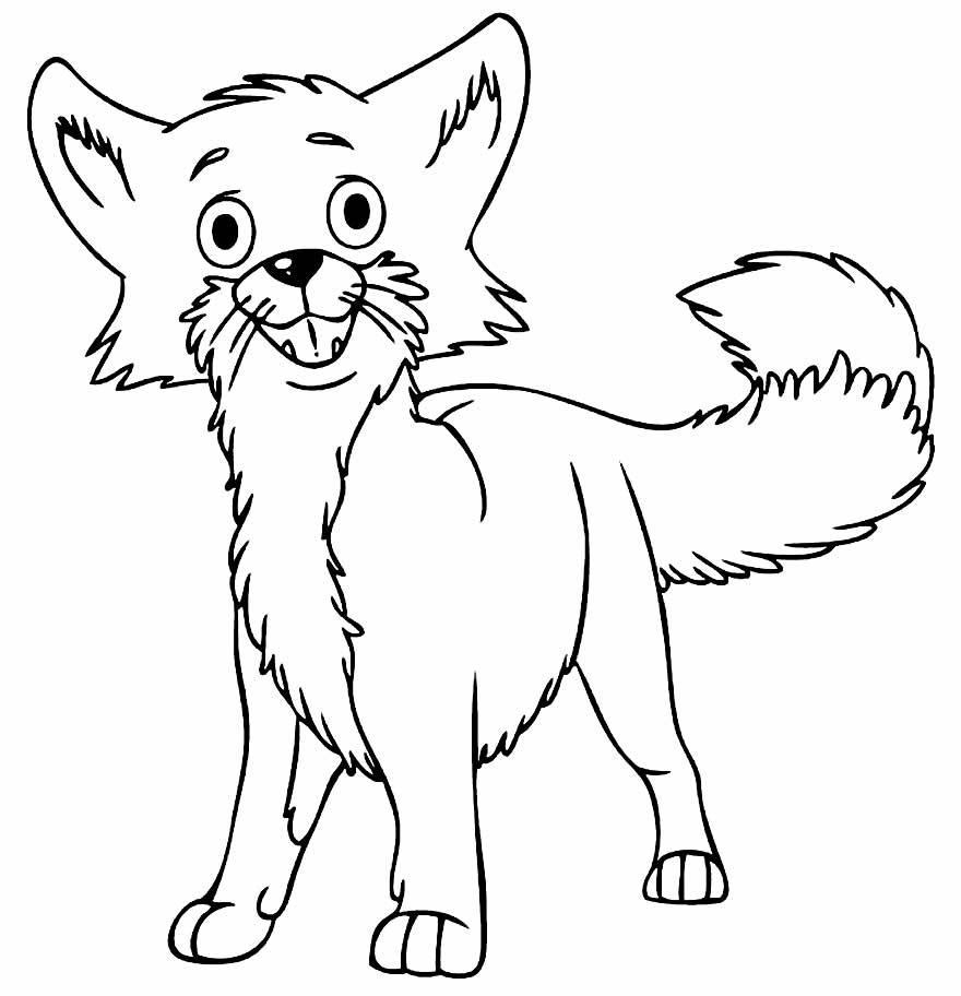 Desenho de Raposa para pintar e colorir