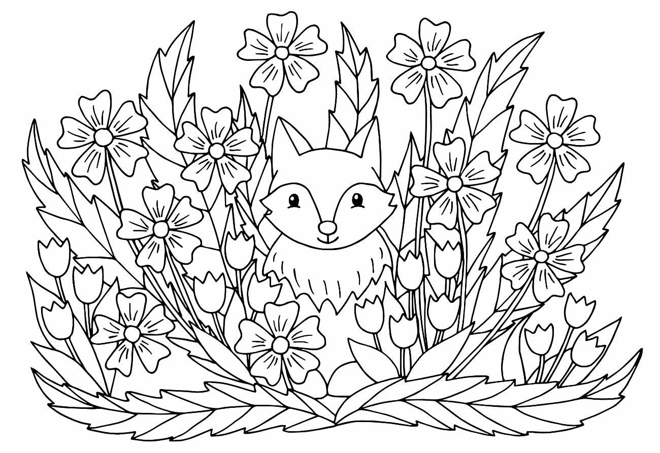 Lindo desenho de Raposa para colorir
