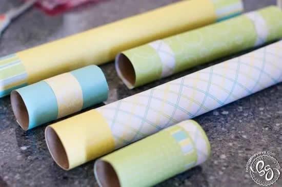Decoração com rolos de papel higiênico