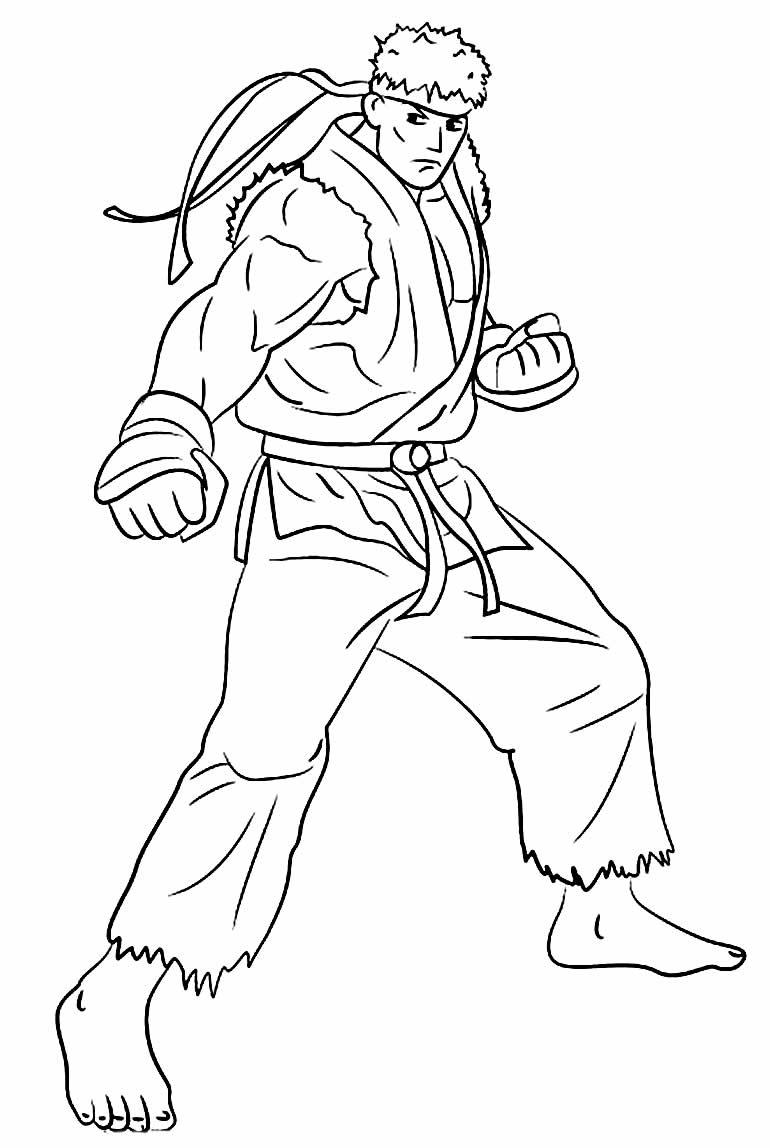 Desenho de Ryu para colorir
