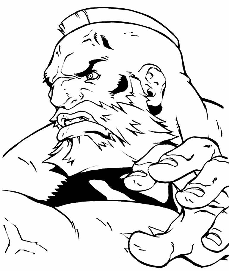Desenho para colorir de Zangief - Street Fighter