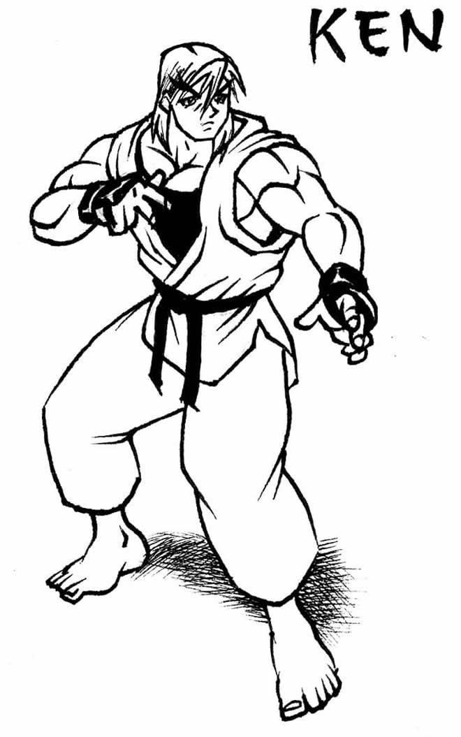 Desenho para colorir de Ken - Street Fighter