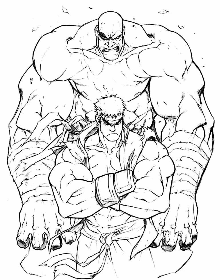 Desenho para colorir de Sagat - Street Fighter