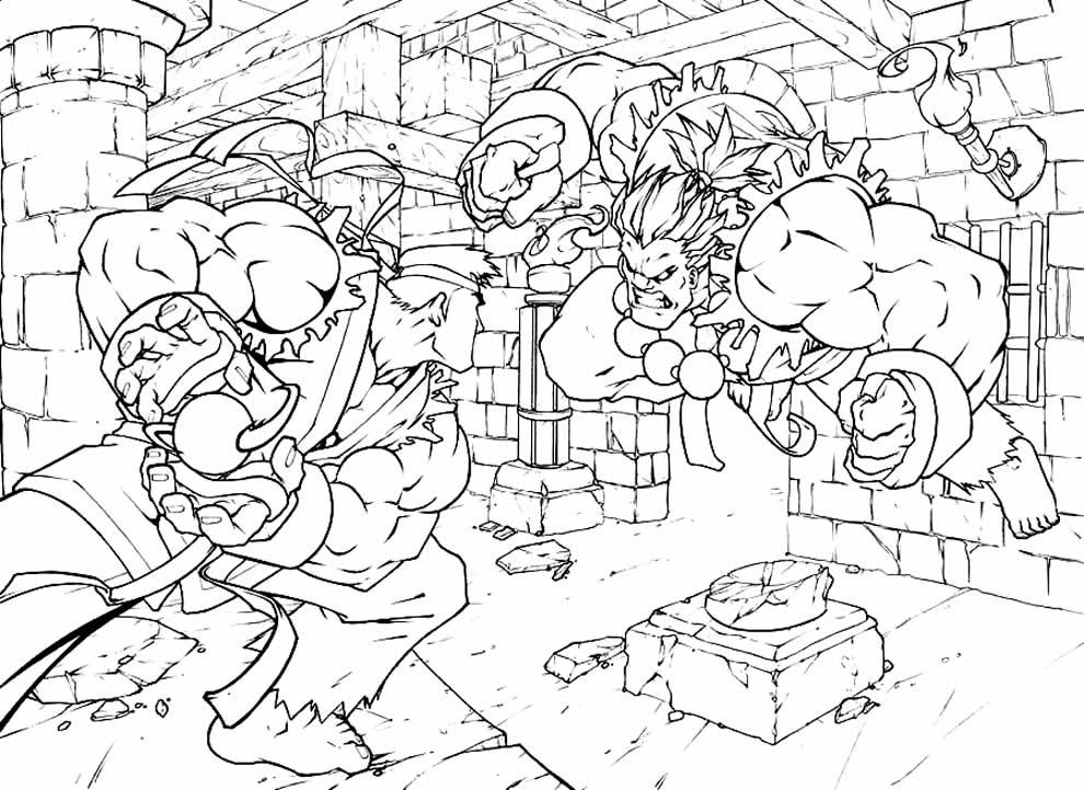 Desenho de Street Fighter para colorir