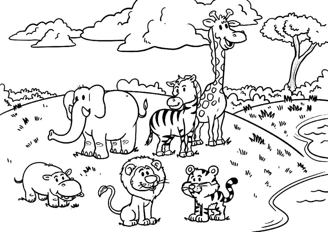 Imagem de animais do safari para pintar