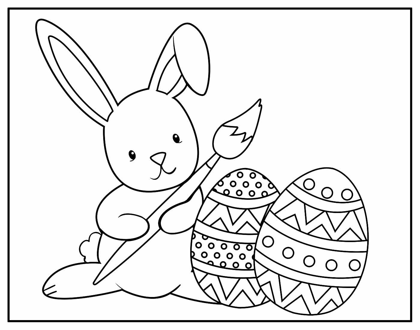 Página para colorir de Coelhinho da Páscoa