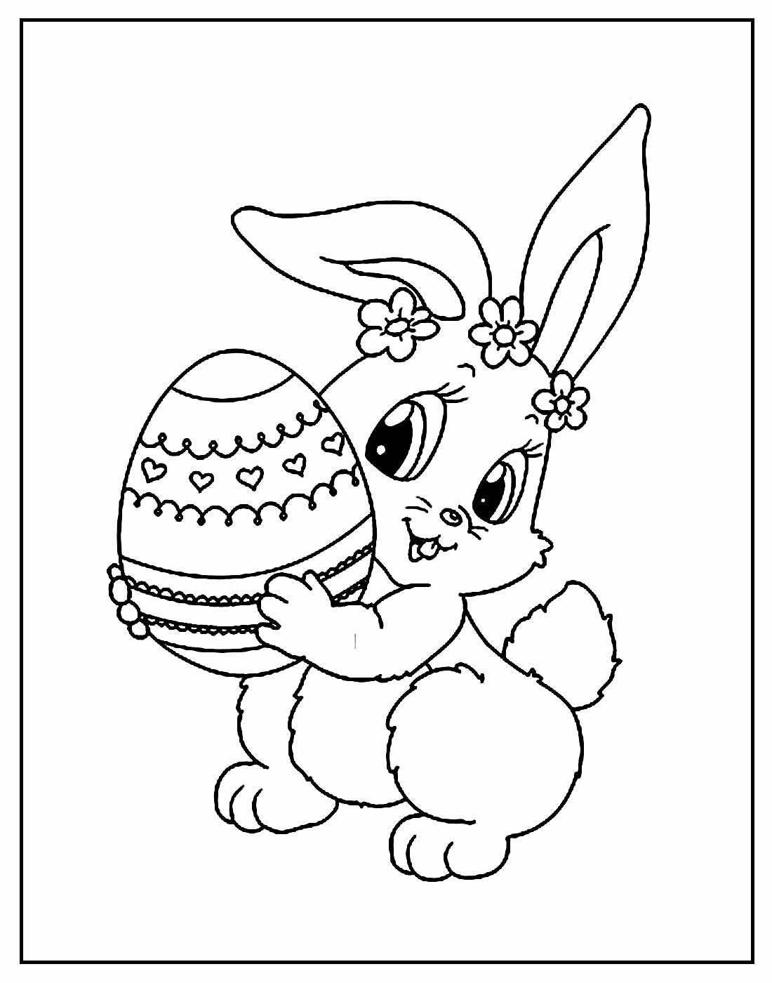Desenho de Coelhinho da Páscoa para pintar
