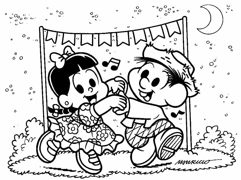 Desenho de Festa Junina da Turma da Mônica