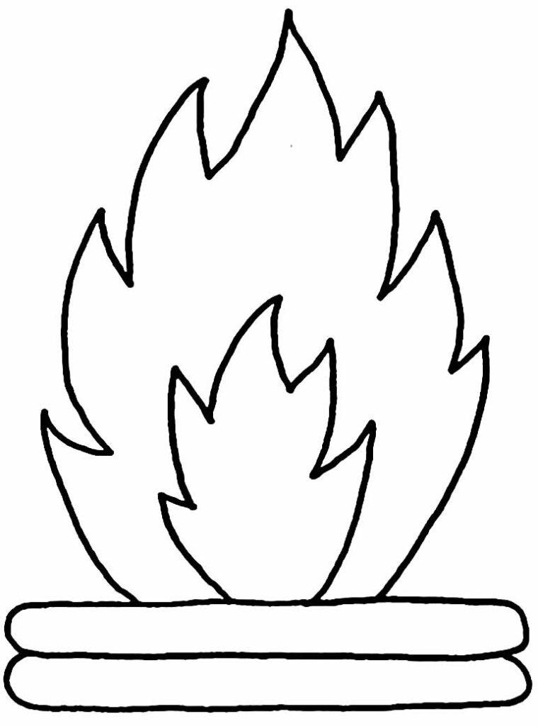 Desenho de Fogueira para pintar