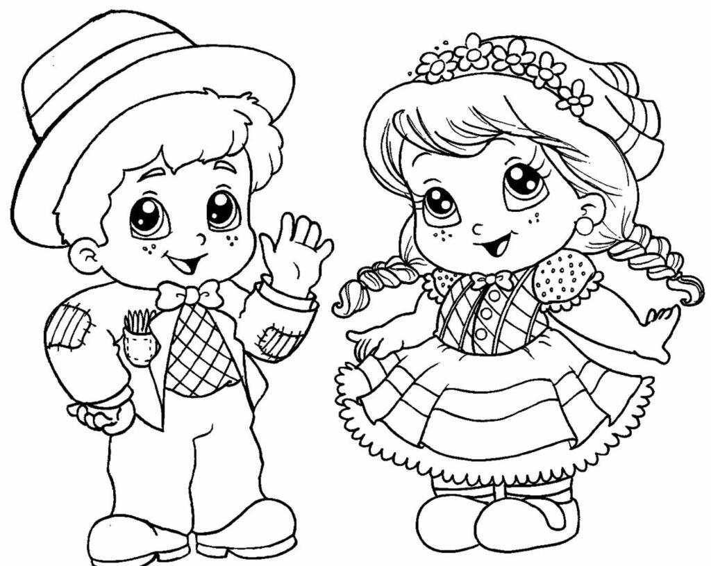Desenho de Festa Junina para colorir