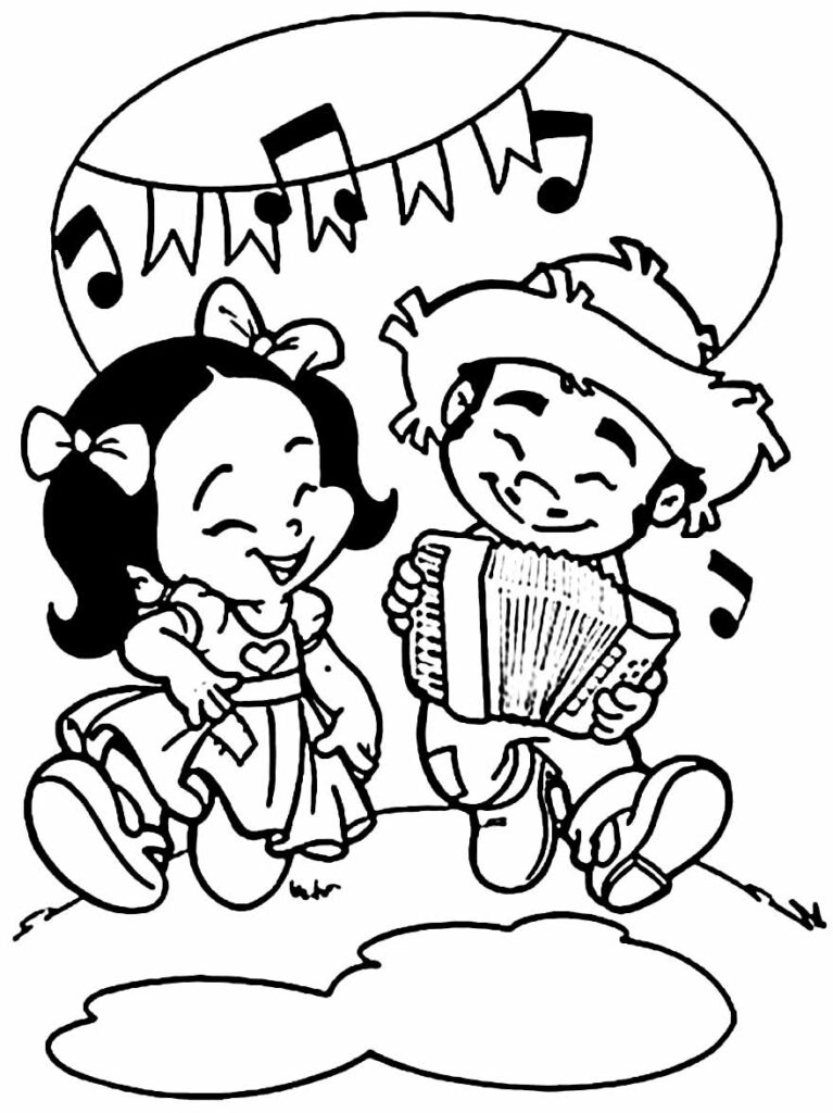 Desenho de Festa Junina para pintar