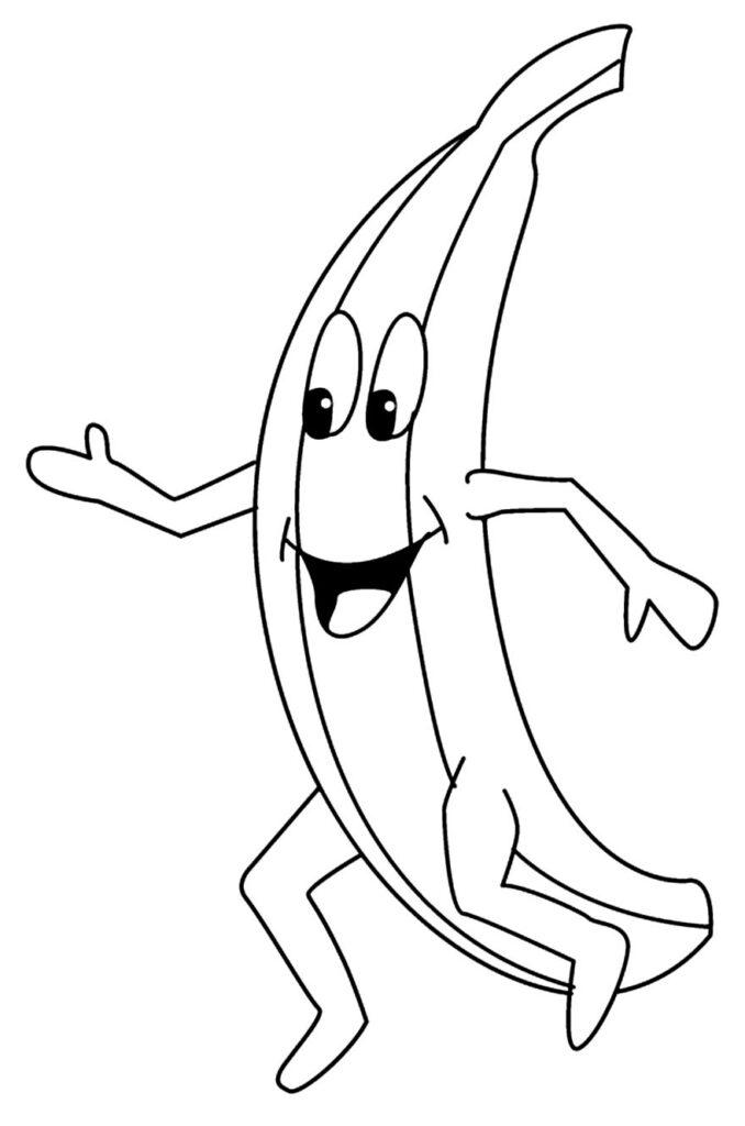 Desenho para pintar de Banana