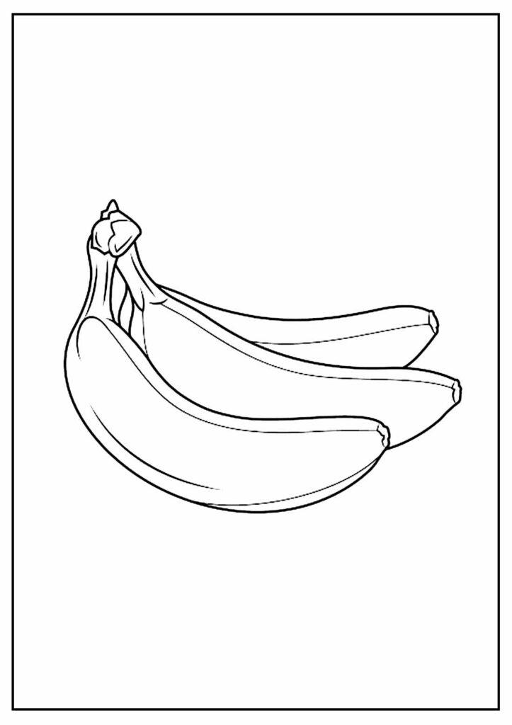 Desenho de Banana para pintar e colorir