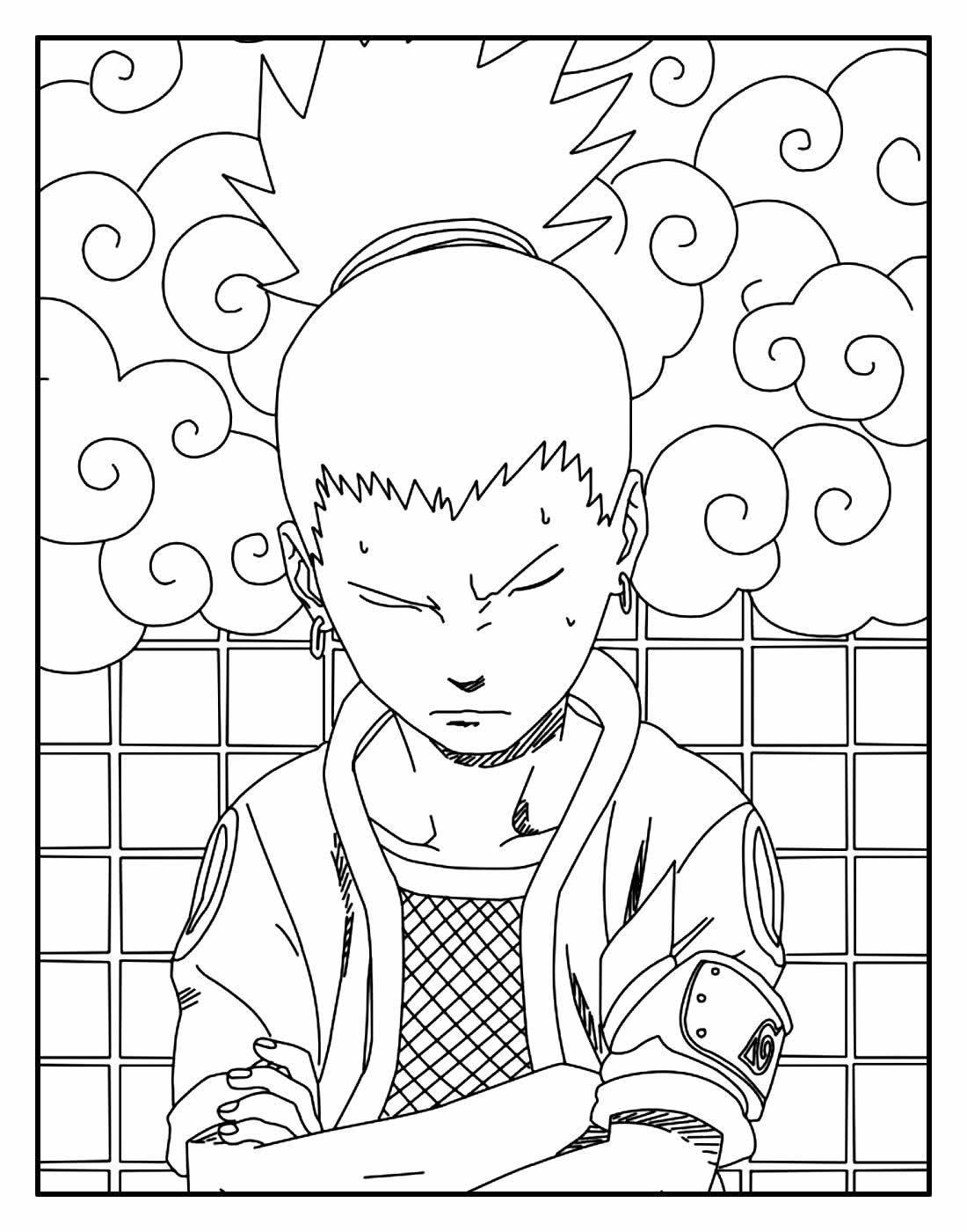 Desenho para colorir do Naruto - Shikamaru