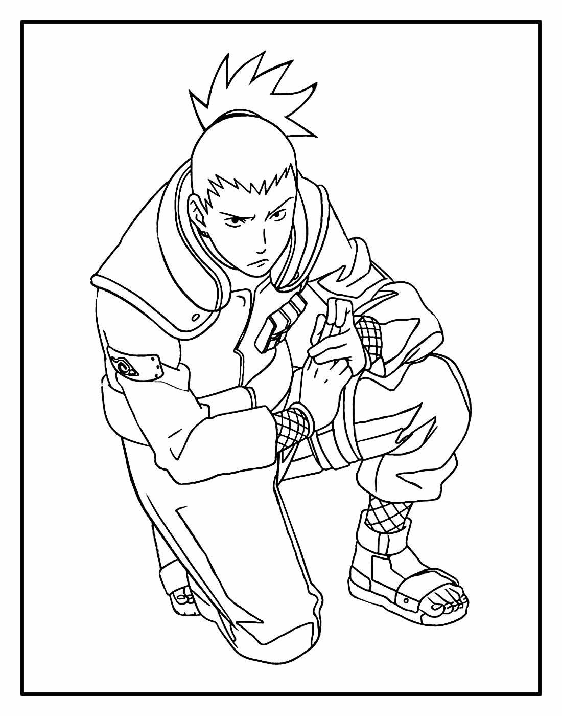 Desenho de Shikamaru para colorir - Naruto