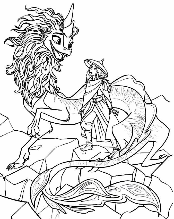 Desenho para pintar de Raya e o Último Dragão