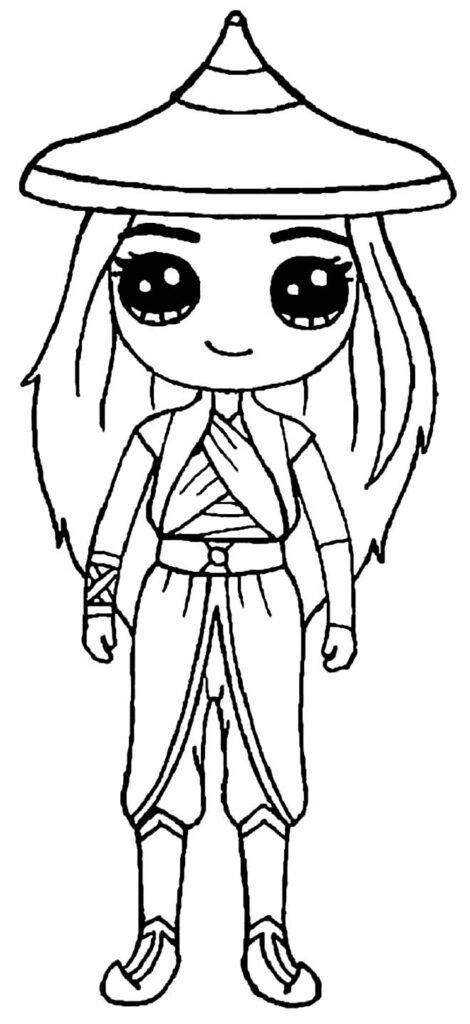 Desenho fofo para pintar de Raya e o Último Dragão
