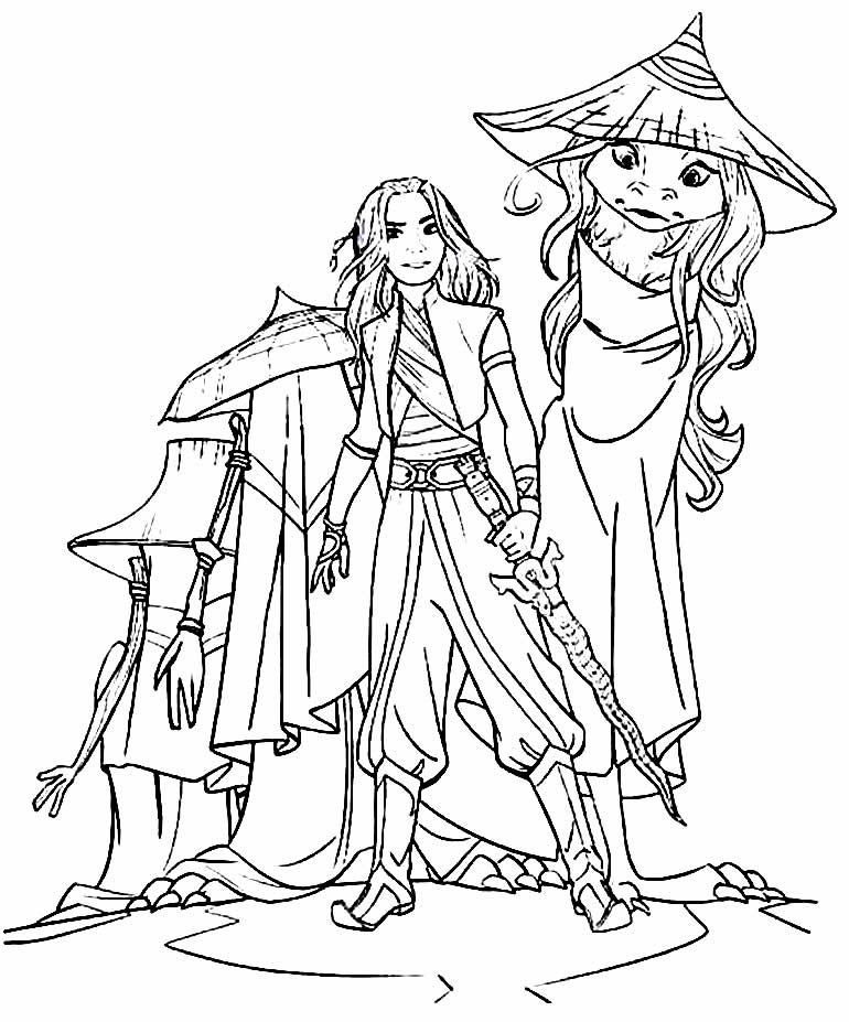 Desenho para pintar e colorir de Raya e o Último Dragão