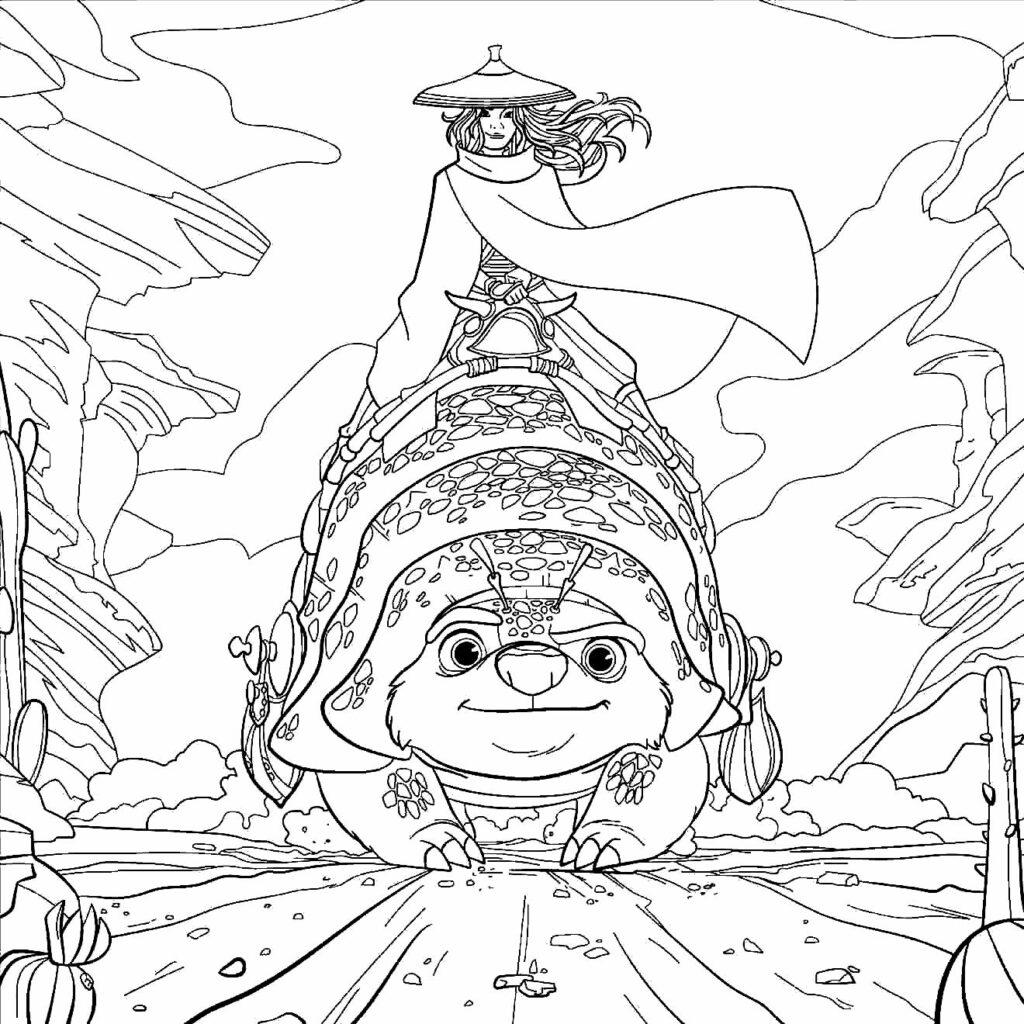 Desenho para imprimir e colorir de Raya e o Último Dragão