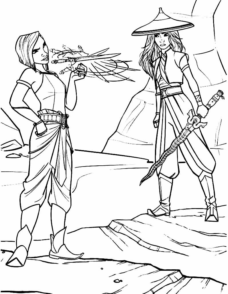 Lindo desenho para imprimir e pintar de Raya e o Último Dragão